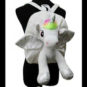 Unicorn Plush Backpack White